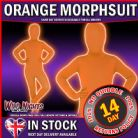 "CHILDS MORPHSUIT BOYS GIRLS PARTY FANCY DRESS COSTUME ORANGE LARGE 10-12  4' 6"" TO 5' HEIGHT"